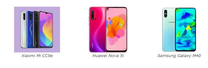Xiaomi Mi CC9e VS Nova 5i VS Samsung Galaxy M40