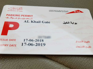 RTA Parking Card Charges