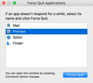 force quit runing apps on mac